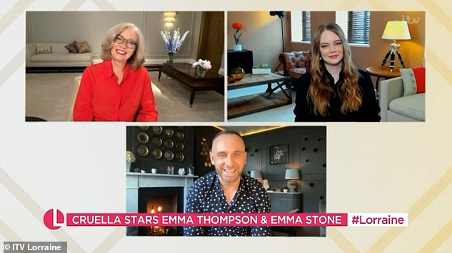 Emma was interviewed alongside her co-star Stone, 32, by Mark Heyes, who said: 'I kind of looked, you've got serious underwear on there. Was it super uncomfy?'