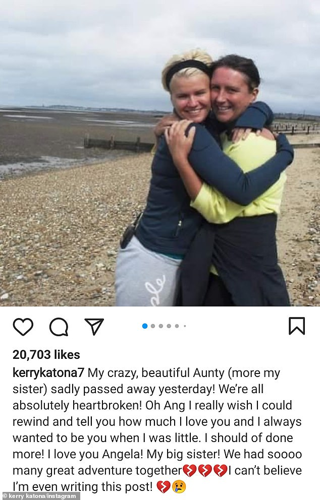 Heartfelt: 'I really wish I could rewind and tell you how much I love you and I always wanted to be you when I was little,' Kerry wrote in a heartfelt Instagram post for Angela at the time