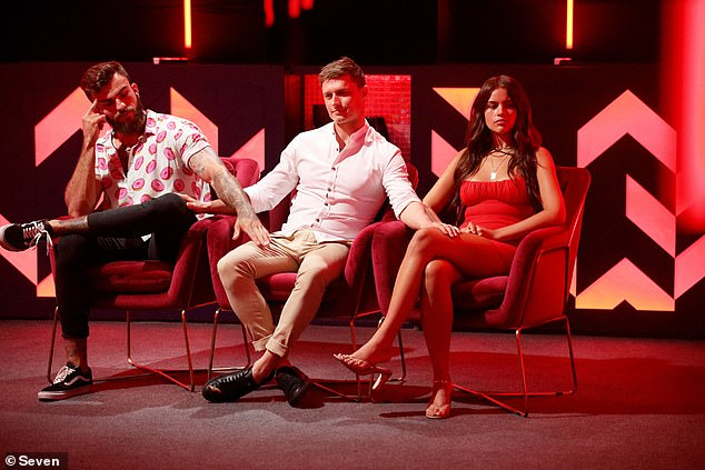 Evicted: Mitch was sent home after he received a whopping eight votes. Pictured with fellow housemates Brenton Balicki andChristina Podolyan, who were also up for nomination