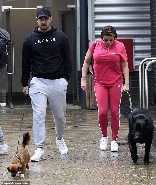 Couple:Katie Price enjoyed some quality time with her fiancé Carl Woods as they went for a stroll in Leeds after she filmed Steph's Packed Lunch on Wednesday