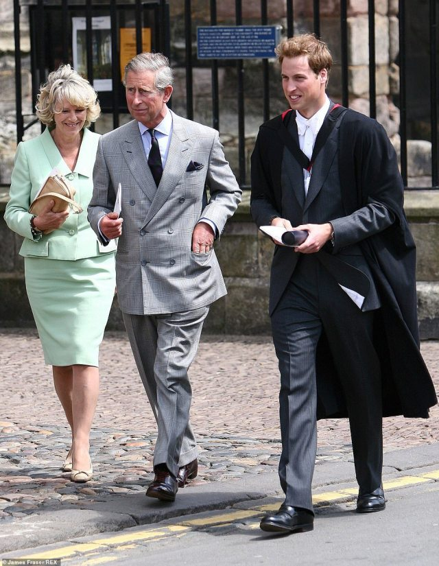 Proud father: Prince Charles and the Duchess of Cornwall at Prince William's 2005 graduation