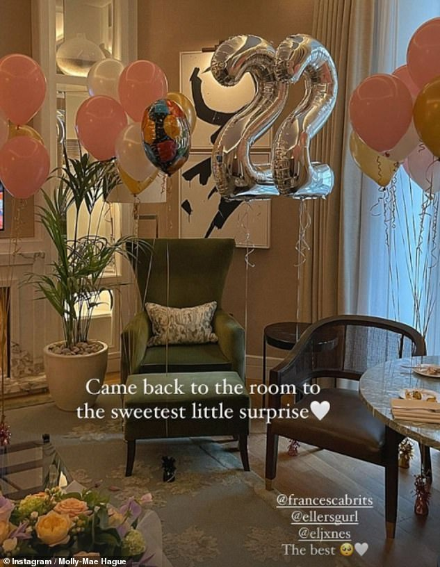 Lavish:Molly-Mae kicked off her 22nd birthday celebrations in style on Tuesday as she enjoyed a luxurious hotel break in London with her pal Maura