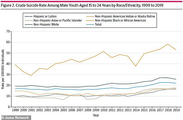 Among males between ages 15 and 24, rates soared by 47% for African-Americans and 40% for Asians in comparison with 20% for Caucasians