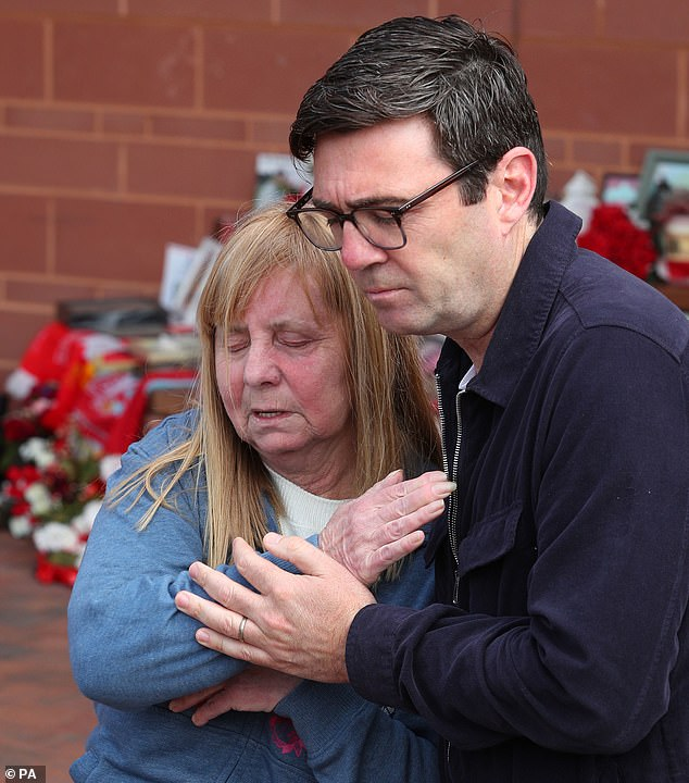 Hillsborough campaigner Margaret Aspinall and Andy Burnham, Mayor of Greater Manchester, outside Anfield stadium after the trial collapsed today