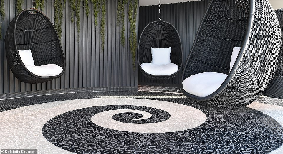 The stylish egg chairs on Celebrity Apex. The 14,000 sq ft spa was designed by Kelly Hoppen