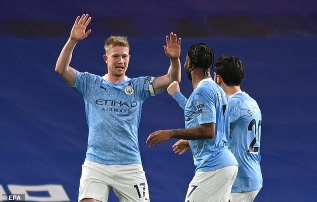 Kevin De Bruyne (left) is one of City's midfielders pushed forward into a false nine role