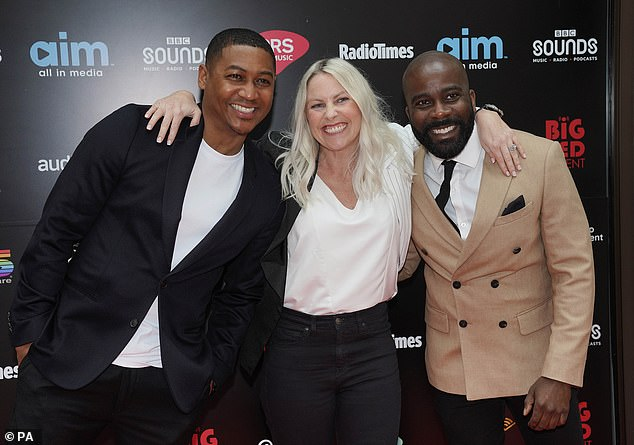 Three's company: Rickie, Melvin and Charlie of Radio 1 looked their usual giddy selves as they arrived