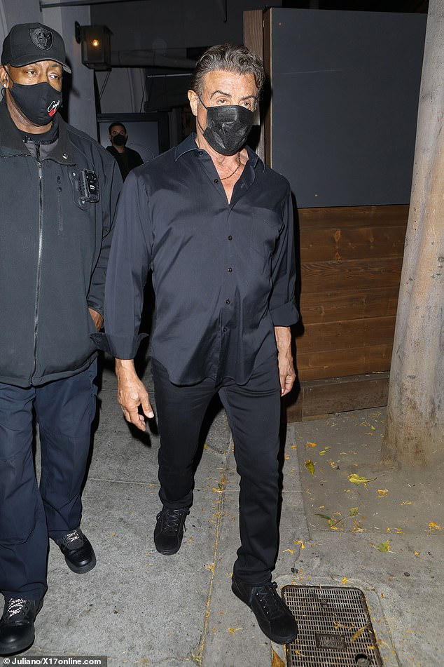 Night out: Sylvester Stallone marked another milestone as he celebrated his daughter's birthday with his family at Craig's in Los Angeles on Tuesday night