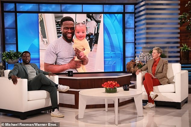 Still talking: The star, right, seen with Kevin Hart, left, on her show Wednesday