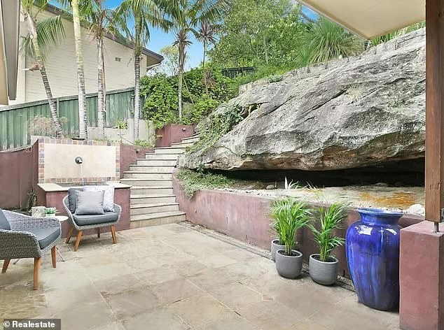 Picturesque:'The family may be planning some renovations to the home,' according to realestate.com.au. Pictured is the outdoor living space