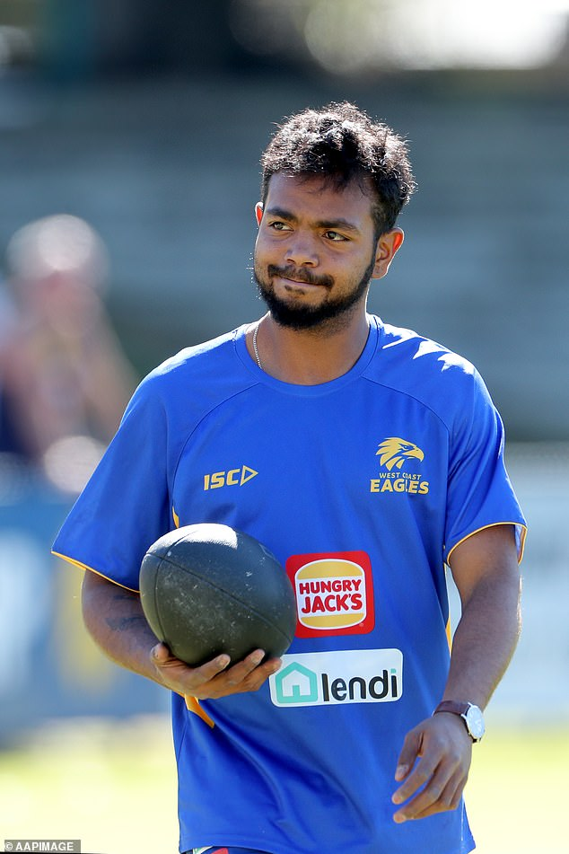 Still playing: The AFL career of Willie Rioli is still alive after West Coast decided against sacking the premiership forward. Pictured during an Eagles training session in Perth in August 2019