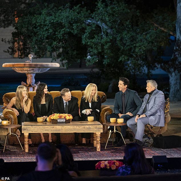 Laughs and tears:The six iconic stars - Courteney Cox, Jennifer Aniston, Matthew Perry, Matt LeBlanc, Lisa Kudrow and David Schwimmer - reunited on the Warner Bros. studio lot, where the original show was filmed, for a night chocked full of laughs, tears and everything in between
