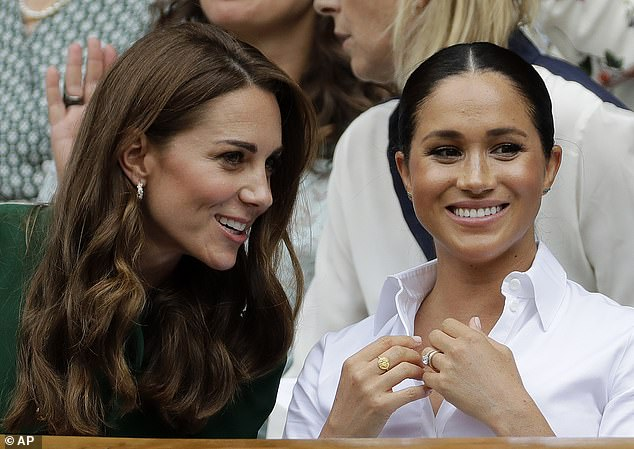 'Don't throw Kate under the bus': Jackie acknowledged Kate Middleton (left) may have been 'a b***h' on the Sussexes' wedding day - but she didn't understand why Meghan (right) had blasted her in her Oprah interview given that she'd apologised afterwards and they'd moved on