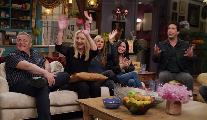 Sofa so good: Five of the Friends back in the comfort zone of Monica and Rachel's apartment