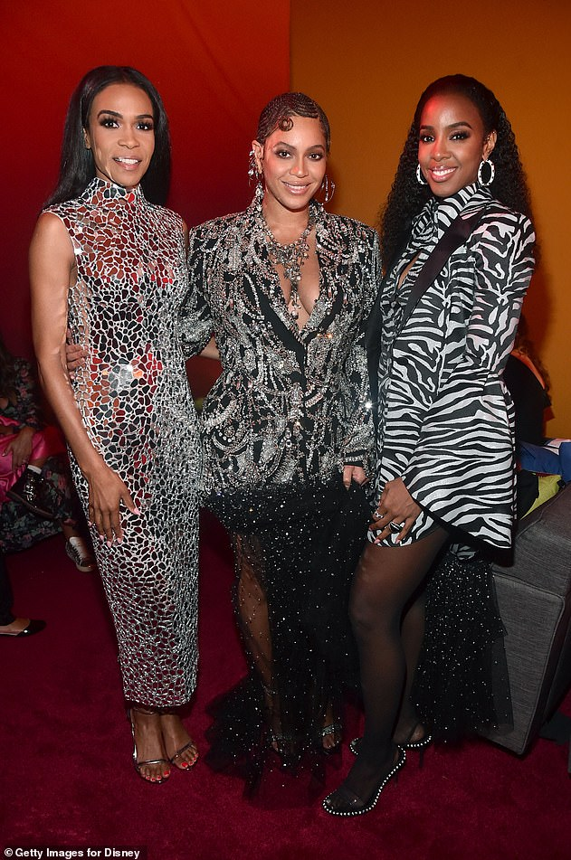 Recent reunion:Kelly and Michelle supported Beyonce at the Lion King premiere as the group made a subtle reunion on the red carpet (pictured July 2019)