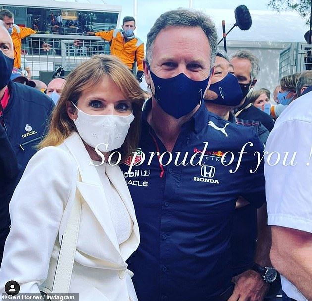 'Congratulations!... So proud of you':Geri had taken to Instagram to congratulate her husband on the Grand Prix, where the Belgian-Dutch racer Max Verstappen took first place
