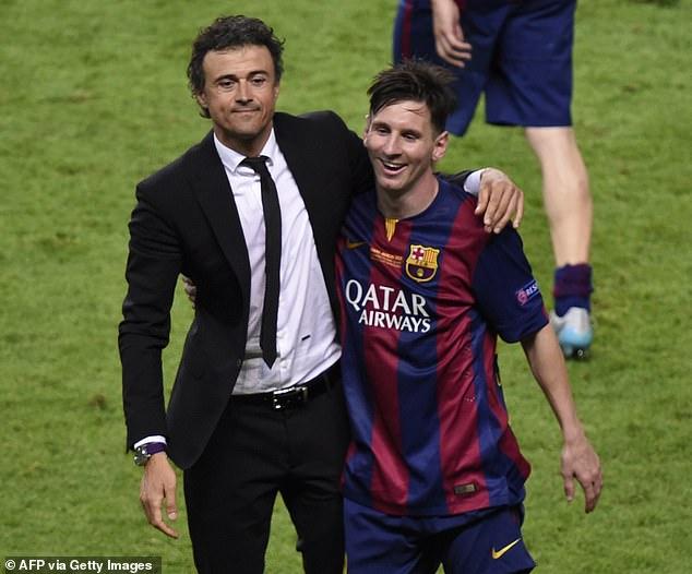 Luis Enrique celebrates Barcelona's 2015 Champions League final win with Lionel Messi