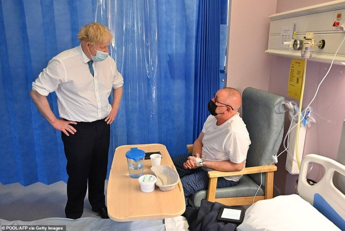 On a visit to a hospital in Colchester today, Mr Johnson said what happened in care homes was 'tragic', but the government 'did our best to protect the NHS to minimise transmission'