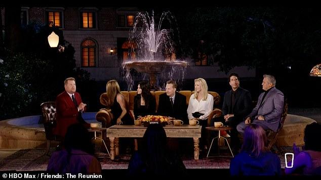 Nostalgic: James appeared as host alongside the show's stars (L-R) Jennifer Aniston, Courteney Cox, Matthew Perry, Lisa Kudrow, David Schwimmer and Matt LeBlanc