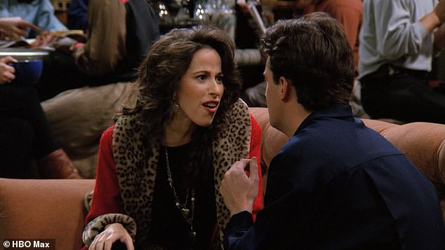 Big moment: She made a laugh to cope with Matthew being so funny.'And I just looked and him and I went [Janice's laugh] and that was it. It was just born in the moment,' she revealed; still from Friends