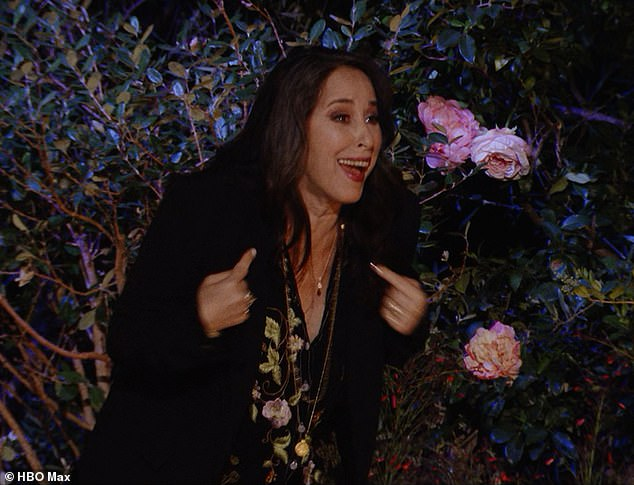 Can't miss her: Maggie Wheeler, 59, made a surprise appearance on Thursday's Friends reunion while slipping into character as Chandler Bing's longtime on¿off girlfriend Janice; still from the Friends reunion