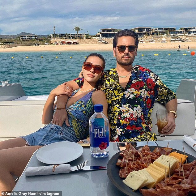 He moved on: Scott now dates 19-year-old model Amelia Hamlin; seen with a cheese and meat plate on social media
