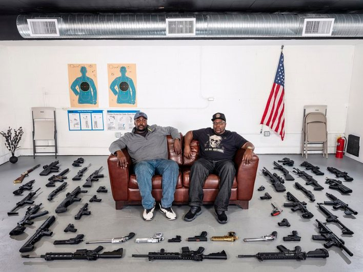 Tuck driver Collin Singletom and factory worker James Prince who met at a shooting range in Atlanta, Georgia