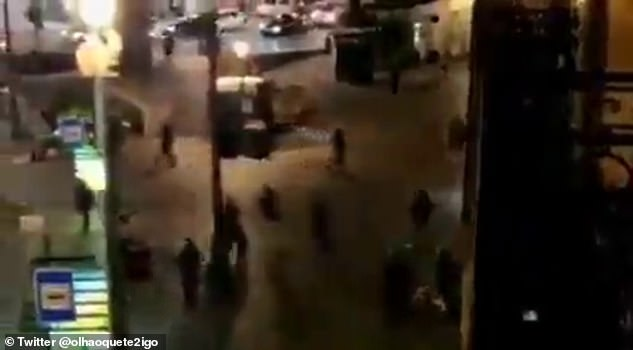 Footage shown on local television showed fans running around in skirmishes as darkness fell