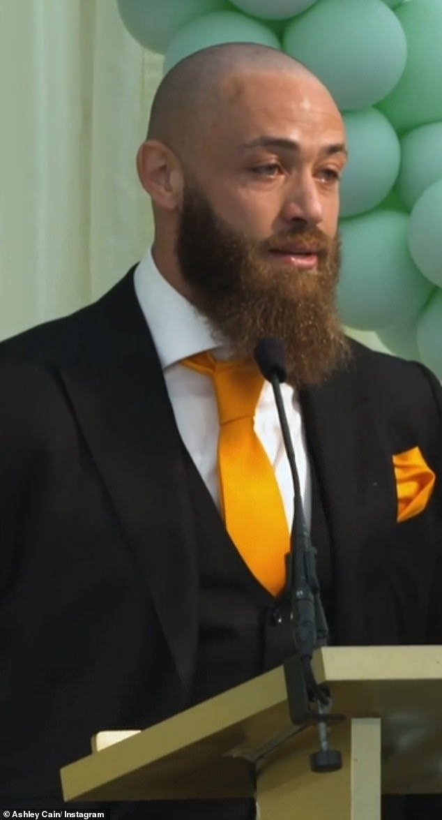 'She changed my life, she saved my life and she made my life': On Thursday, Ashley shared the heartbreaking speech he made at his daughter Azaylia's funeral