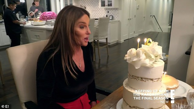 Birthday cake:The Kardashian and Jenner sisters also went to celebrate Caitlyn Jenner's 71st birthday at her house