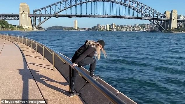 Oh dear:'Okay, how deep is it Melissa, would you jump in there, summersault... I thought you can swim though,' Bryce then says jokingly. Melissa then threatens to jump overboard the Sydney Harbour