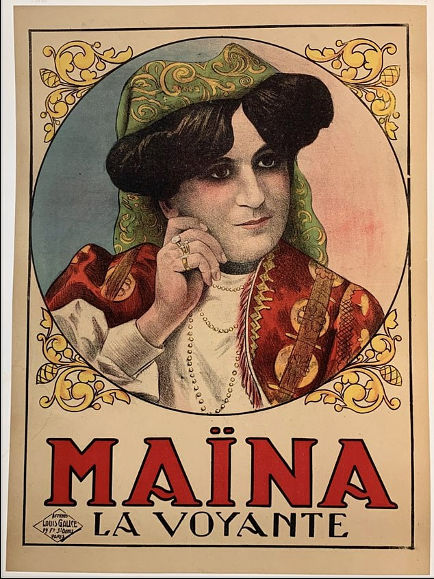 A masterpiece: The old french poster of Maïna La Voyante, also known as Maïna the Clairvoyantwas produced by French illustrator Louis Galice (1864–1935)