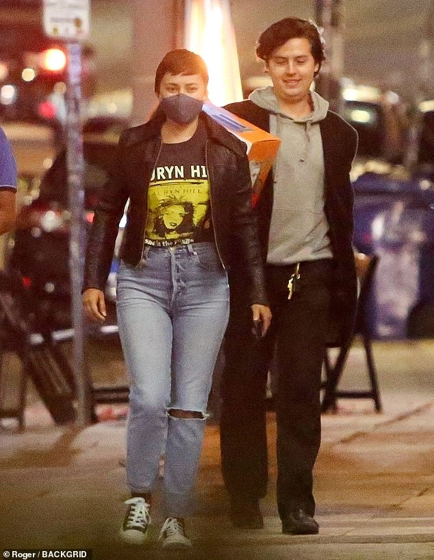 Catching up: Cole Sprouse, 28, had a night on the town in LA's Silver Lake neighborhood with his friend Zelda Williams, 31, before meeting up with his former costar Haley Lu Richardson, 26