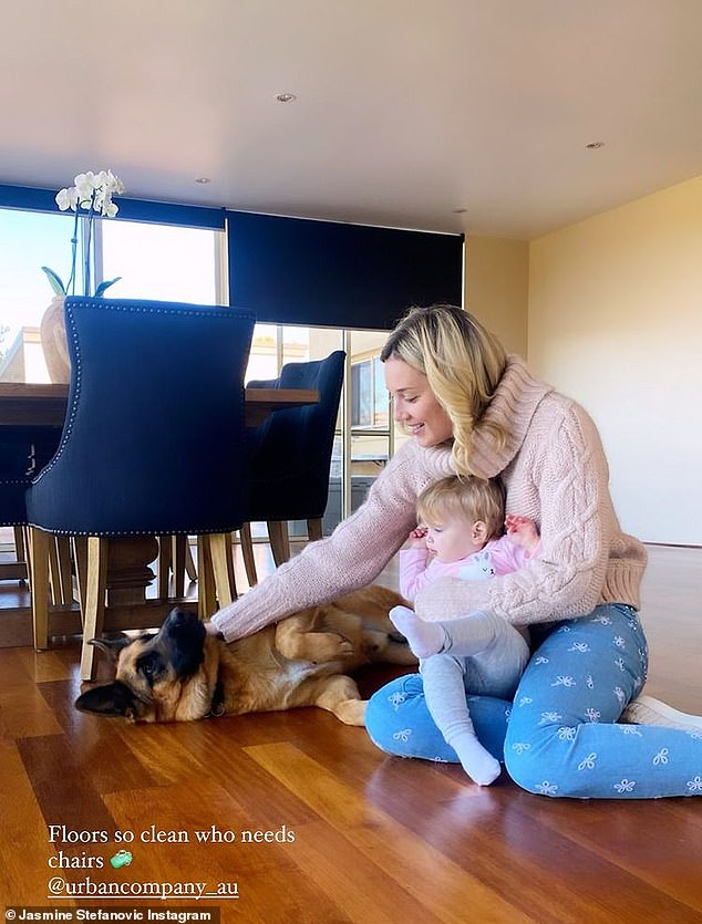 At home:Jasmine offered fans a glimpse at her life at home with Karl and her baby daughter Harper, one, last month