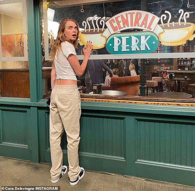Holy grounds:Cara's other Instagram photos showed her geeking out at the set of the coffee shop Central Perk, where the Friends characters regularly hung out