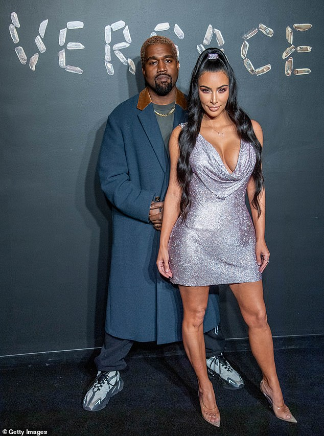 Moving on: The couple would have celebrated seven years of marriage on May 24, and it has been reported that though Kim is 'not ready to date,' West has been dipping his toes into the 'dating' pond; pictured December 2018