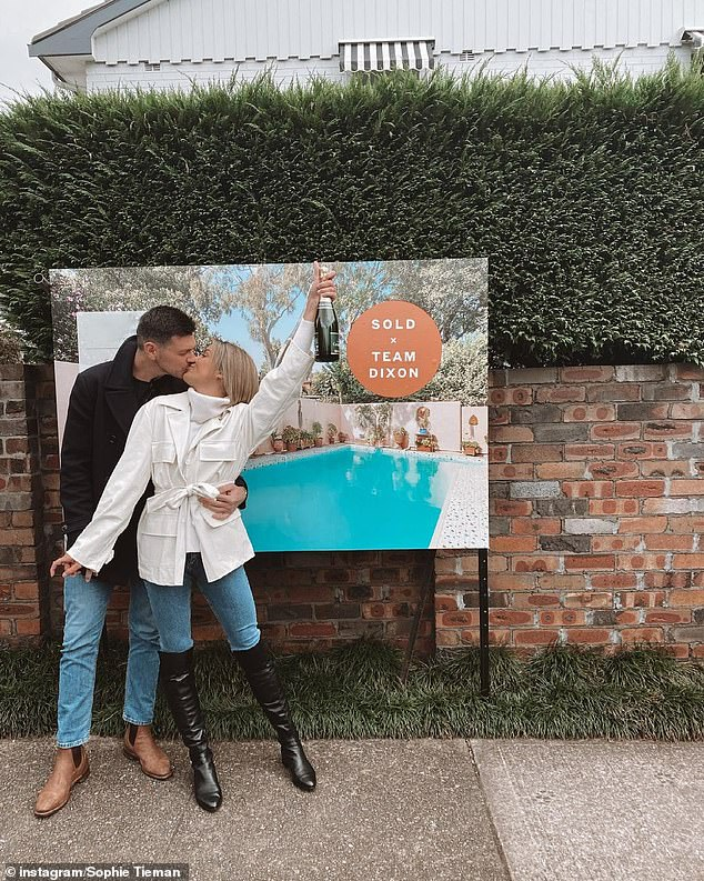 Making moves: Sophie Tieman and her fiancé Joe havepurchased their first home together. Both pictured