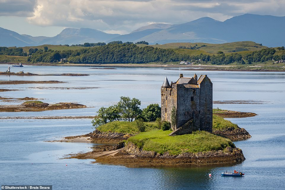 The hotel is located near Castle Stalker, pictured above, which is sited on its own island in Loch Linnhe