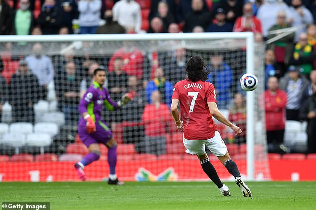 Cavani spotted Fulham keeper Alphonse Areola off his line and tried an audacious chip