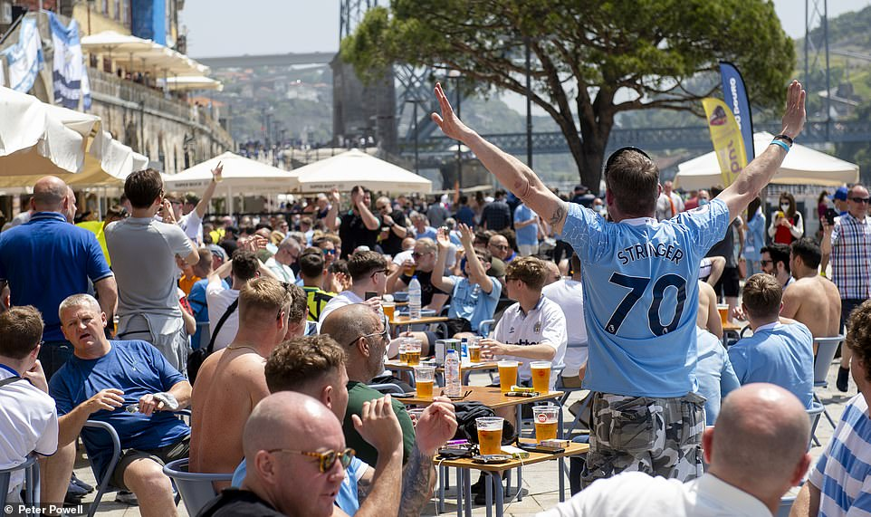Thousands of Manchester City and Chelsea fans have descended on Portugal ahead of the teams' Champions League final clash tonight