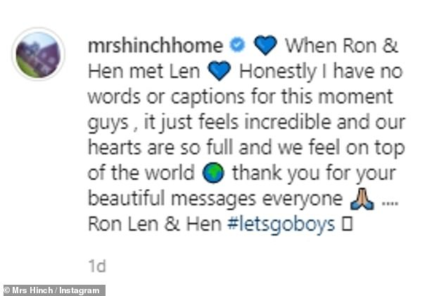 Proud mum:In her post, little Ronnie, who is two next month, could be seen grinning at the camera as she stood next to his newborn brother, who was snoozing peacefully in his crib