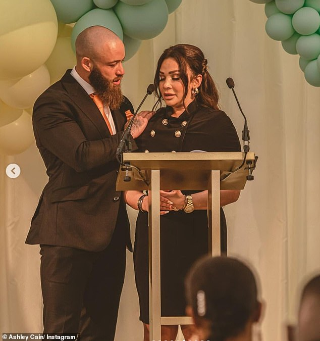Grieving: Ashley Cain shared a video of the 'magical' light display at his daughter Azaylia's grave on Friday evening(pictured with partner Safiyaa Vorajee at Azaylia's funeral)