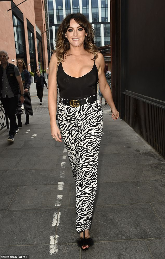 Stripes: The former Coronation Street star, 27, looked stylish as she enjoyed a night out in Manchester