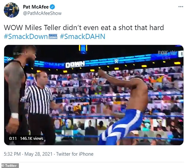 Not cool:The 34-year-old Spectacular Now star clapped back at Pat McAfee on social media, after the professional wrestler compared his assault to a tag-team wrestling match