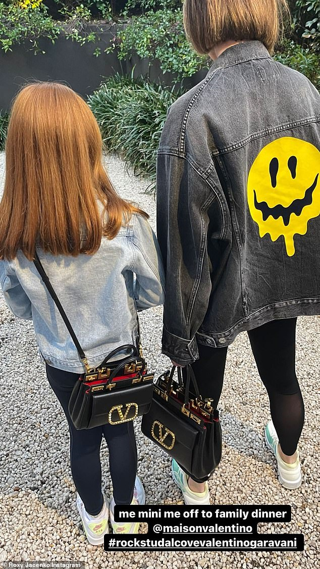 Fancy!In the Instagram Stories post, the stylish pair both wore studded, black leather bags from the designer brand, Valentino