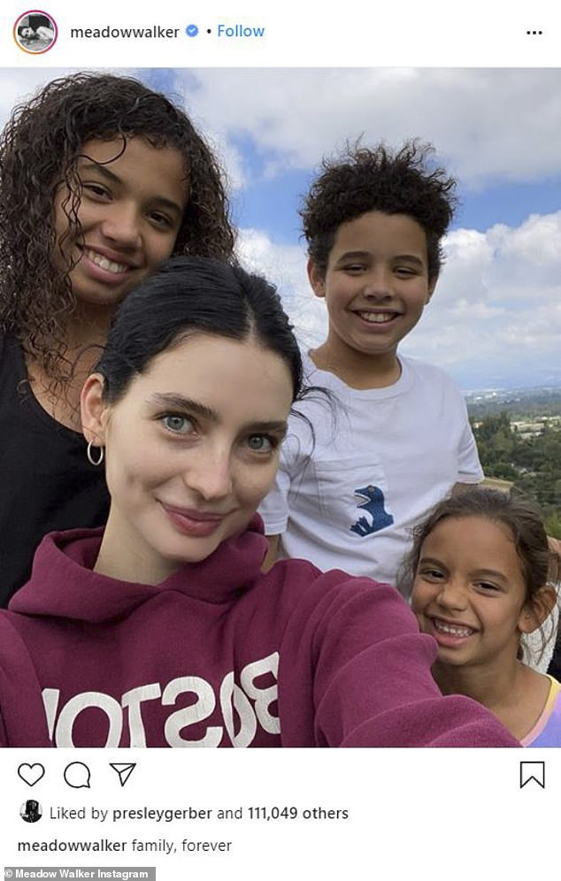 Sweet:Meadow has stayed close with Vin and his family, sharing several pictures to her Instagram (pictured with his childrenHania, 13,Vincent, 11, and Pauline, six)