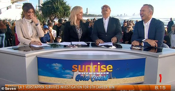 What is 'elbowgate'?The saga began when Kochie told his Sunrise co-hosts on July 1, 2019, he was 'bruised' after being 'elbowed' by Martha on the Logies red carpet the night before. Pictured (left to right) Natalie Barr, Sam Armytage, David Koch and Mark Beretta