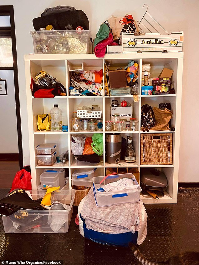 Before-and-after photos uploaded to Facebook show how the woman transformed her cluttered pantry (pictured)