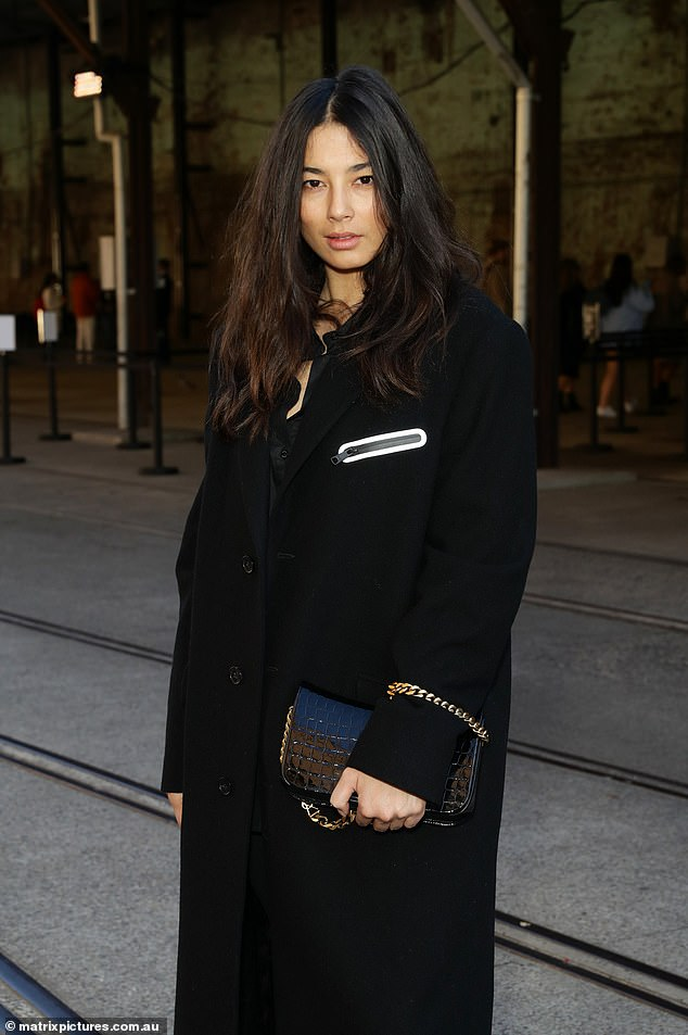 She's glowing!Jessica Gomes was glowing on Monday as she attended Afterpay Australian Fashion Week in Sydney on Mondayafter addressing rumours of a romance with AFL superstar Dustin Martin