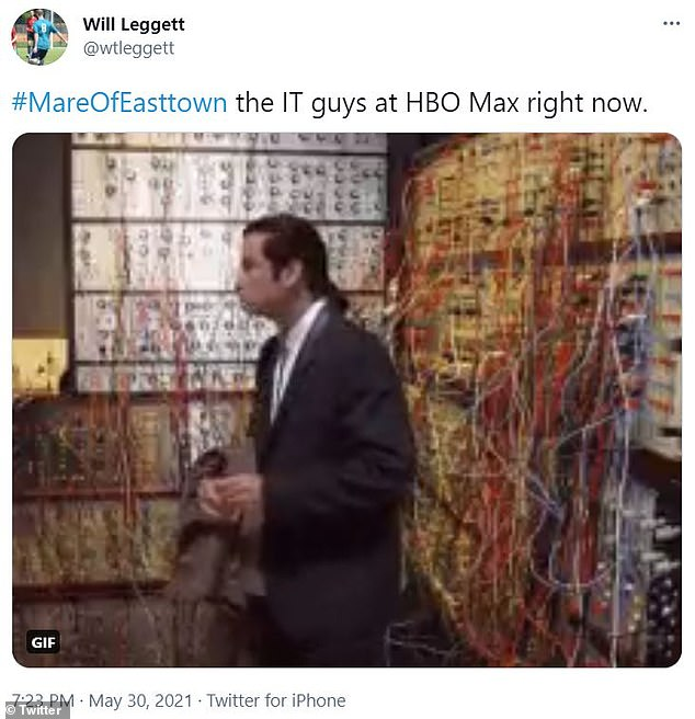 Twitter reaction:A viewer employed a meme of John Travolta as Vincent Vega looking confused in Pulp Fiction with the heading: '#MareOfEasttown the IT guys at HBO Max right now'